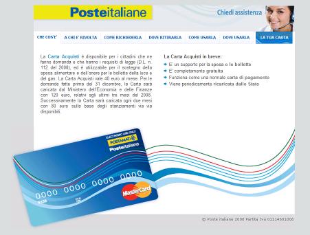 Carta acquisti, verifica saldo Vedo dagli accessi al blog che ci si chiede come verificare il saldo della carta acquisti. Sul sito di Poste Italiane c'è una sezione apposita dove, presumo, si può controllare il .