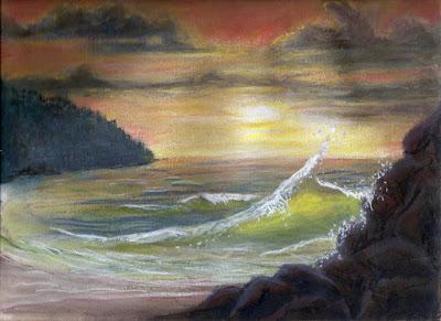 Pastel Painting Oregon Cascade Head, Proposal Rock Sunset