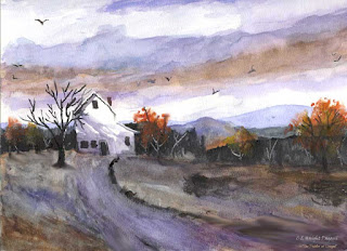 Winter house watercolor painting