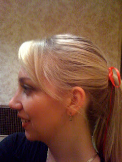 bow in my ponytail @ Brittany's Cleverly Titled Blog