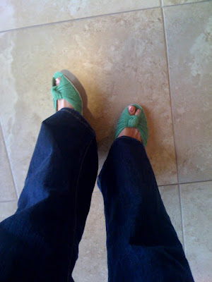 green wedges @ Brittany's Cleverly Titled Blog