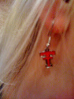 Texas Tech earrings @ Brittany's Cleverly Titled Blog