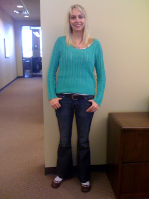green sweater @ Brittany's Cleverly Titled Blog