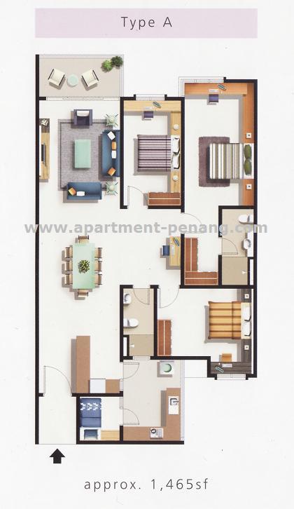 Elit Heights Bayan City on 600 Sq Ft Apartment Floor Plan