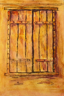 contemporary watercolor painting of a barn window by atul pande