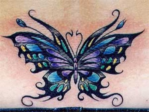 Butterfly Tribal Tattoo Designs black tribal tattoo ink colorful butterfly