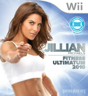 sexy jillian michaels in bra top on cover of wii game pointing at viewer