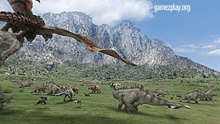 dinosaurs in prehistoric background