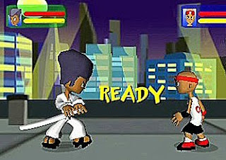 cartoon fighters face each othr one in karate suit and sword orther in headband and t-shirt