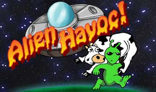 flying saucer with alien running away carrying cow over his sholder