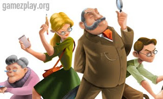 characters from the game in cartoon format prof, secretary granny and sleuth