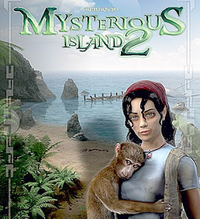 girl holding monkey with desert island backdrop and game logo