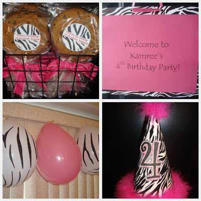 Pink and Zebra girl theme party   kid's birthday parties, baby and hridal shower ideas http:/www.frostedevents.com
