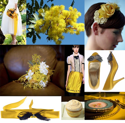The yellow mimosa flower makes