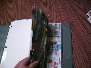Using a binder for organizing coupons
