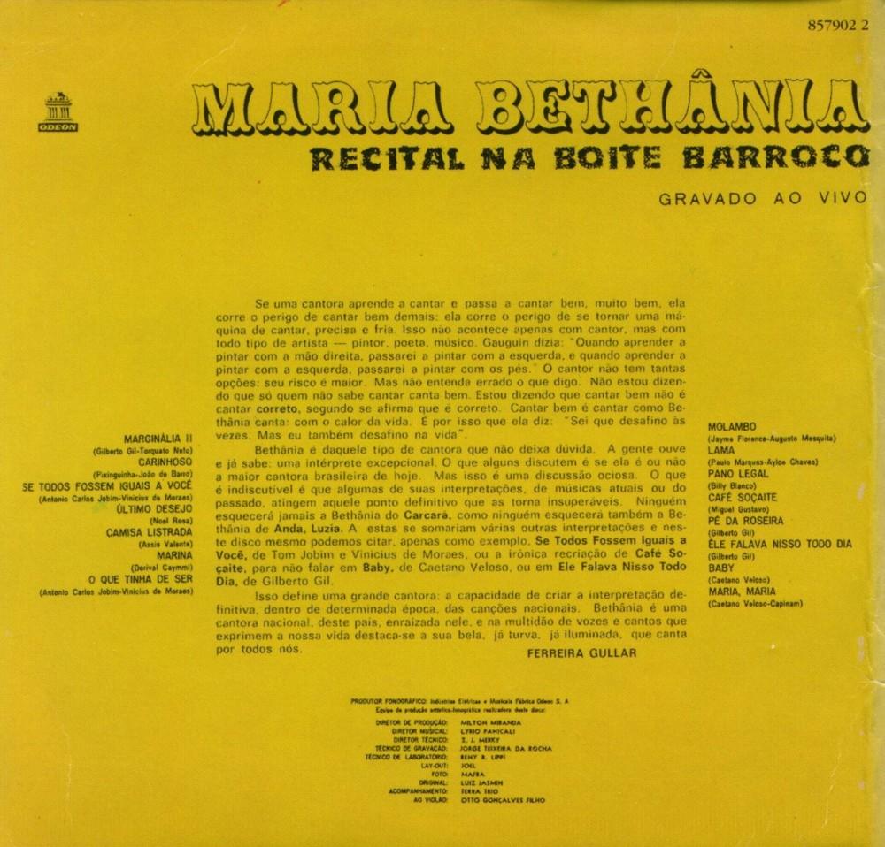 Maria Bethania - Recital na Boite Barroco