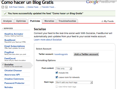 Twitter actualizando tu blog