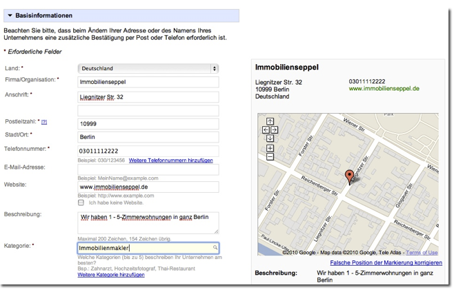 Beispieleintrag fuer Immobilien in Google Places