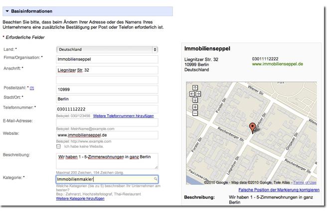 Beispieleintrag fuer Immobilien in Google Places