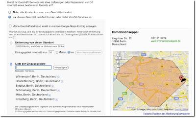 Beispiel fuer Einzugsgebiet in Google Places