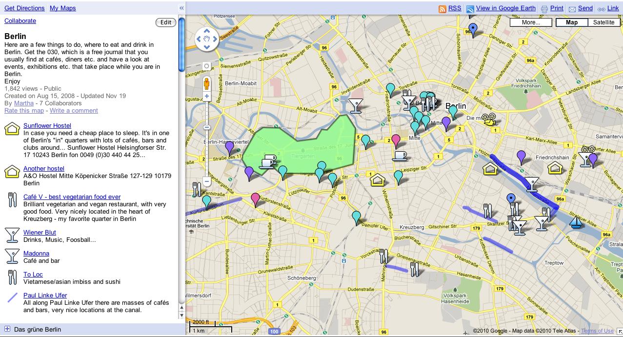 Beispiel My Maps Berlin Geheimtipps