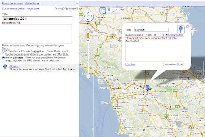 Beispiel My Maps Italienreise