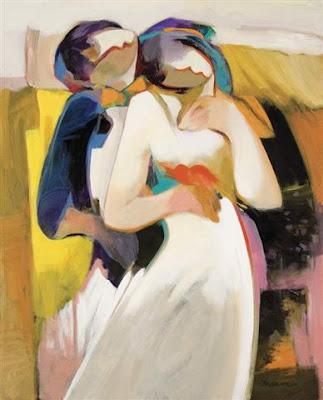 Ilustração de Hessam Abrishami que mostra um homem abraçando carinhosamente a mulher