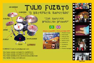 Tulio Fuzato, o baterista amputado, é puro rock and roll