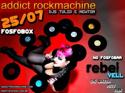 Flyer da Festa Addict RockMachine na Fosfobox dia 25/7