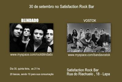 Hoje tem dois shows na Satisfacion Rock Bar