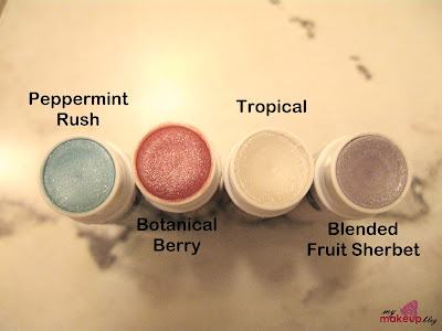 ... Berry (pink), Tropical (clear to off-white), and Blended Fruit Sherbet