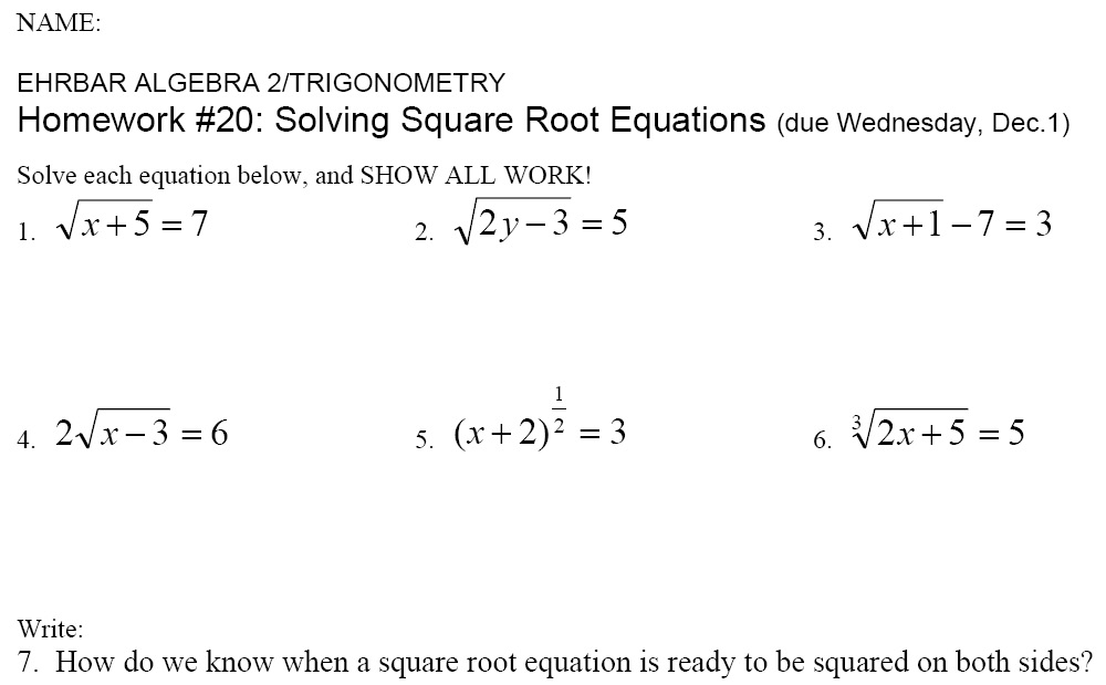 Examples of Square Roots and Radicals