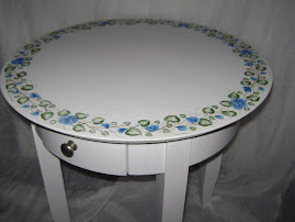 Hand Painted Blue and White Accent Table