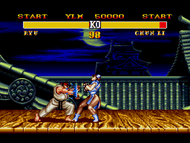 Ryu fights Chun Li in Street Fighter