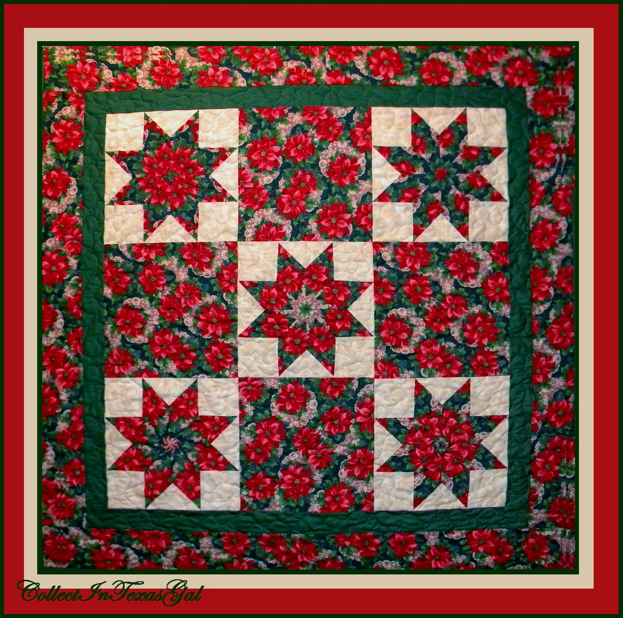 Star Poinsettias ~ Christmas Quilt Number Five