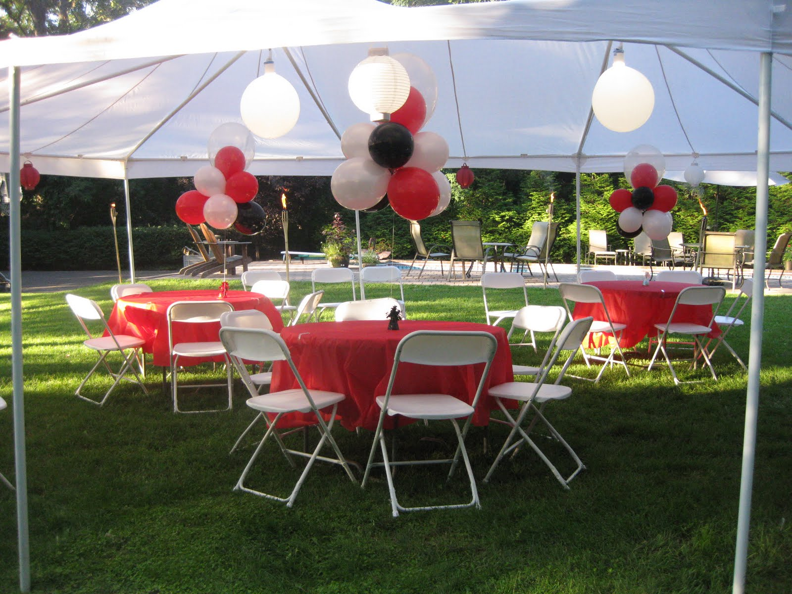 Party planning at your liking august 2010 for Outdoor party tent decorating ideas