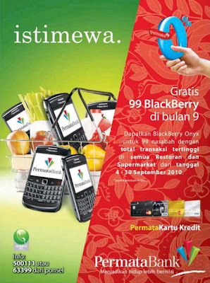 Promo terbaru dari kartu kredit Permata Bank. Blackberry gratis untuk transaksi tertinggi dari kartu kredit Permata Bank.
