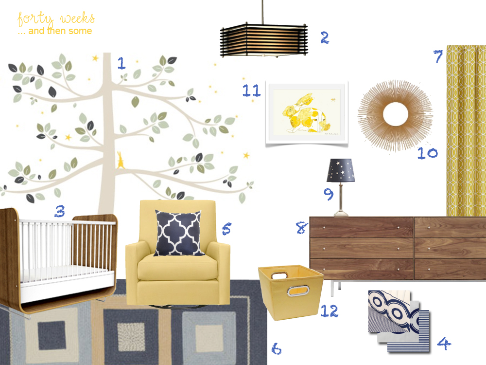 Forty Weeks Design Mustard And Navy Blue Nursery