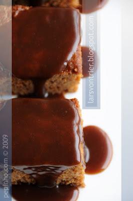 Pudin de miel y especias con salsa de caramelo al chocolate