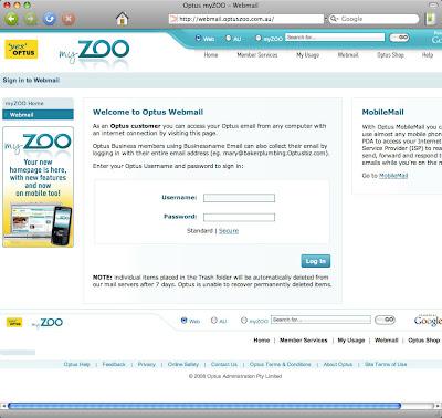 Optus Webmail at webmail.optuszoo.com.au