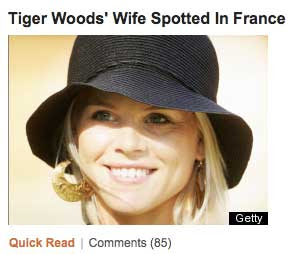 Blonde woman with headline Tiger Woods' Wife Spotted in France