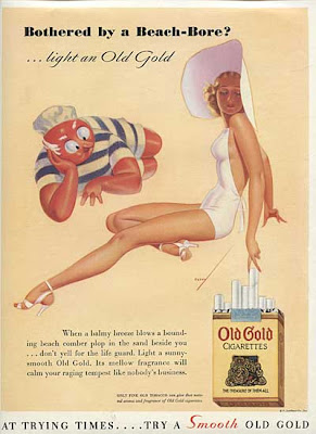 Old cigarette ad with woman in bathing suit