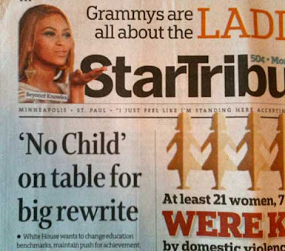Star Tribune headline 'No Child' on table for rewrite