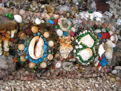 Colorful stones and seashells embedded