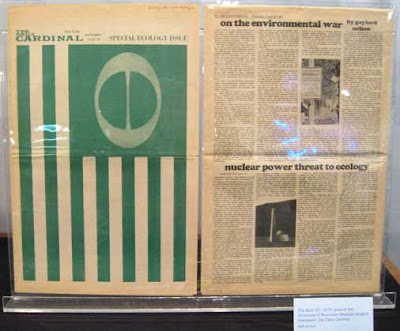 Green ecology flag printed as a full page of a newspaper