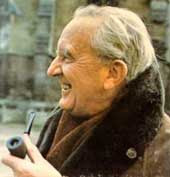 JRR Tolkien with pipe