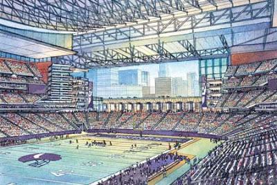 Artists' rendering of a possible Vikings stadium