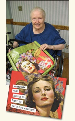 Photo of an older woman in a wheelchair, holding an Anne Tainter collage with her photo from the 50s. Headline Someone was going to have to set a bad example