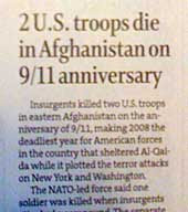 Newspaper story with headline Two troops die in Afghanistan