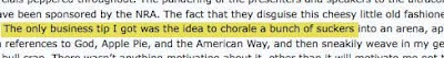 Comment refers to corral a bunch of suckers, except corral is spelled chorale
